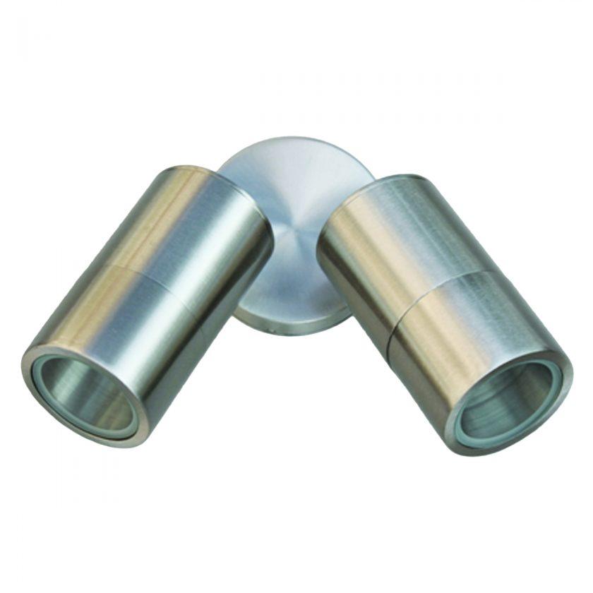 2 Light Double Adjustable 316 Marine Grade Stainless Steel Exterior Light GU1