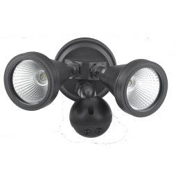 LED Double Black Exterior Spot Sensor Light - ledsptdwsbl