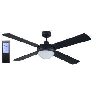 Rotor LED 52'' Black Ceiling Fan + BL Touch Pad Remote - ROTORBLK - TBLRem