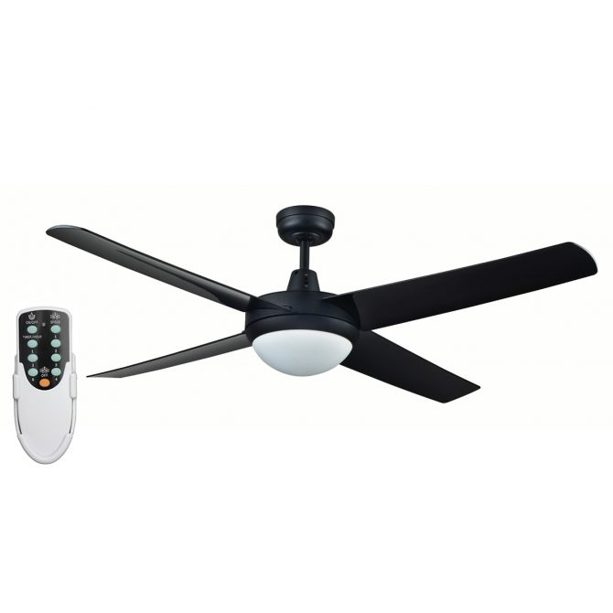 Rotor LED Light 52'' Black Ceiling Fan with ABS Blades + Remote - ROTORBLK2 - Rem
